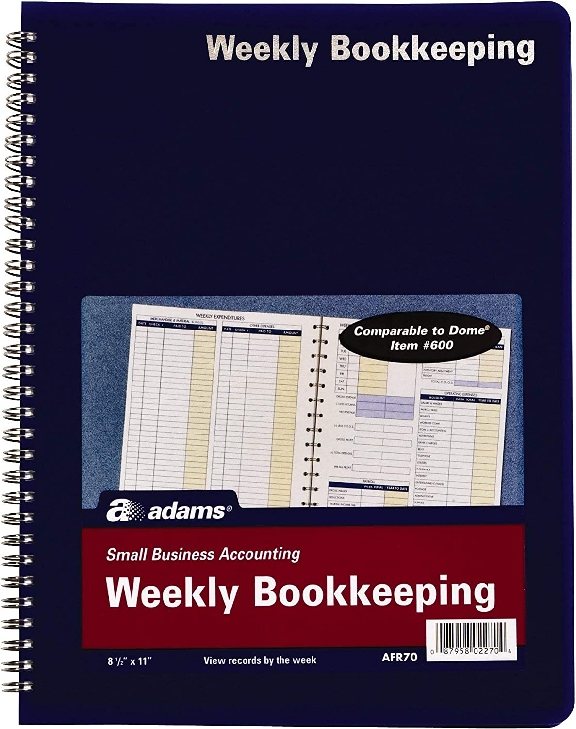 1 Pack White Bookkeeping Record Book 8.5 x 11 Inches