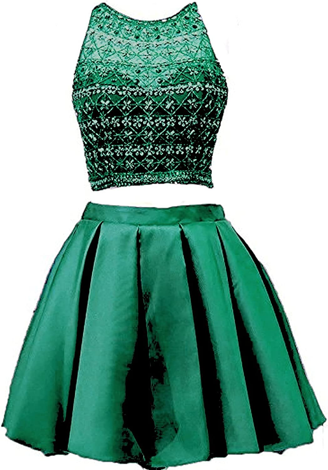 Hjtrust Women's Crystals Two Piece Homecoming Dresses Short Prom Gowns 2017 H013