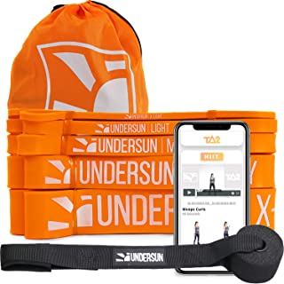 Undersun Fat Burning & Body Toning Bundle - 5 Pull Up Assistance, Full Body Stretching & Resistance Workout/Training Loop Bands, Door Anchor, 90 Days James Grage Workout Program & a Carry Bag