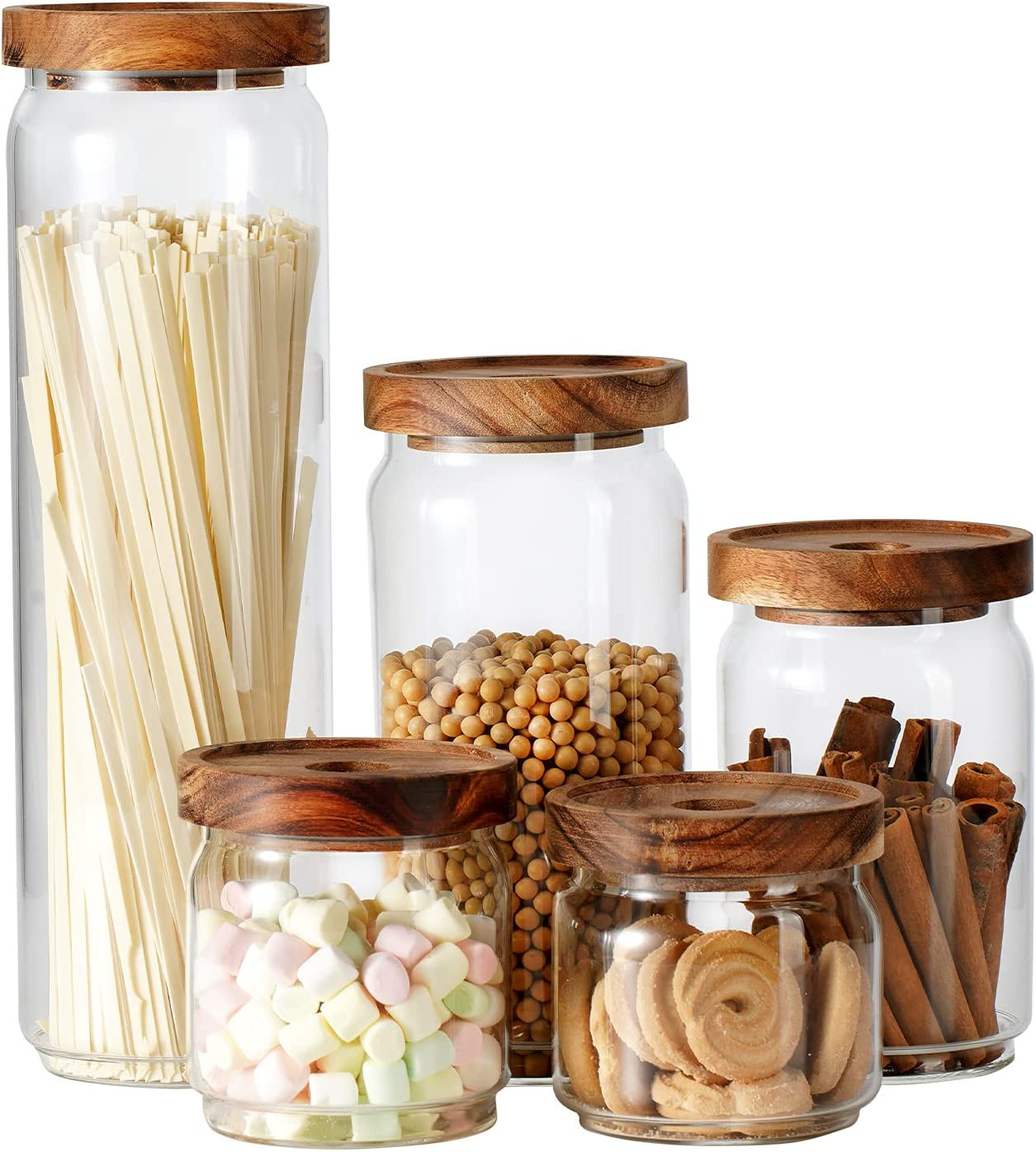 OPTVIT Glass Overseas parallel Colorado Springs Mall import regular item Jars Food Storage with Lids Container Wood Acacia