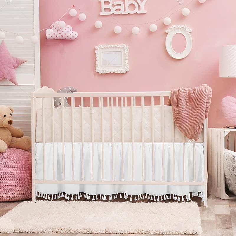 White Crib Bed Skirt Dust Ruffle With Tassel Trim Nursery Crib Bedding Skirt For Baby Boys And Girls 15 Drop
