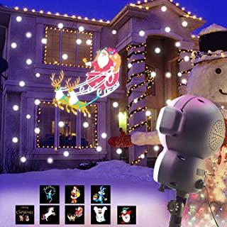 AOLOX SN-01 Snow Animated, Outdoor Halloween Christmas Decorative LED Snowfall Projector Lighting with Music Playback and Remote Control, Multicolor