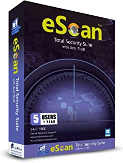 eScan Total Security Suite with Cloud Security total Antivirus pro software 2019 Internet Security included Antitheft Complete Protection [5 Devices 1 Year]