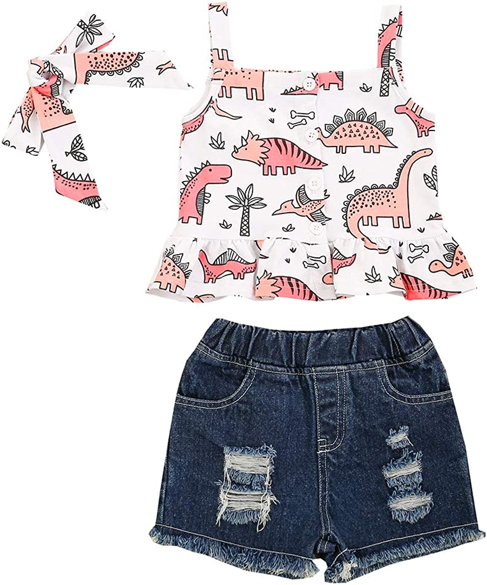 Kids Charlotte Mall Baby Girls 3-Piece Outfit Ranking TOP19 Dinosaur Sleeve Toddler Print Set