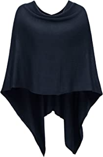 DJT Womens Solid Knit Short Asymmetric Wrap Poncho Topper