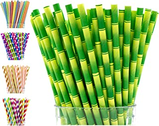 Paper Straws Biodegradable by Party Girl Kim - 200 box | Bamboo Straws | Luau Hawaiian Party Decorations | Moana Party Supplies | Jungle Theme Party Supplies | Tiki Straws for Tiki Cups (Bamboo)