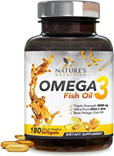 Omega 3 Fish Oil Concentrated Triple Strength 2400mg - EPA & DHA Fatty Acids Capsules, Non-GMO, Best Fish Oil Supplement by Nature's Nutrition, Lemon Flavor - 180 Softgels