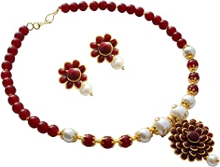 Geode Delight Gold Plated Maroon Pearl Pacchi Necklace with Earring Set for Women