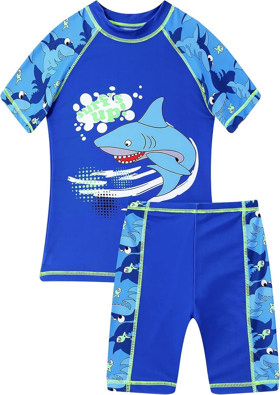 Hansber Kids Boys 2-Piece Rashguard Tankini Swimwear Mock Neck Short Sleeve Shirt with Boyshorts Swimsuit