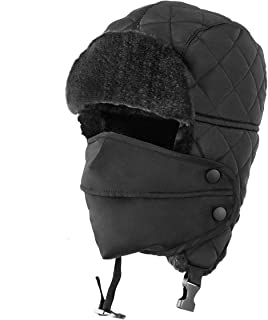 Unisex Winter Trooper Trapper Hat Hunting Hat Ushanka Ear Flap Chin Strap with Windproof Mask Russian Style Ear Flap Hat for Men Women 2 Colors
