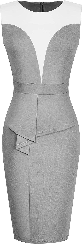 HOMEYEE Women's Retro Ruffle Peplum Slim Business Pencil Dresses B575