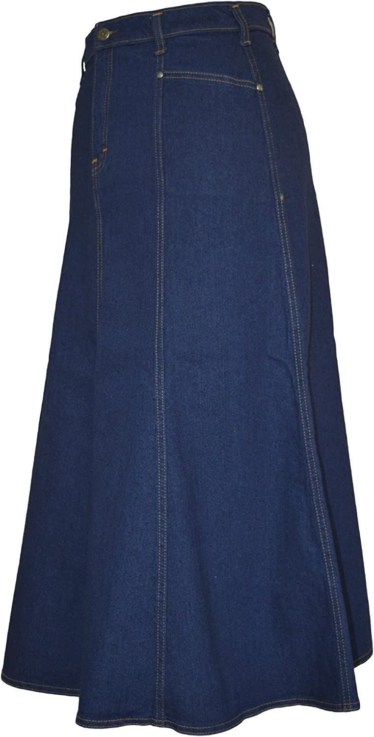 Ice Cool Ladies Long Flared Indigo Stretch Denim Skirt - Sizes 4 to 22. in 30