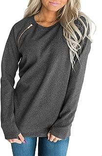 Women's Casual Long Sleeve Round Neck Side Zip Pullover Sweatshirt Tunic Tops
