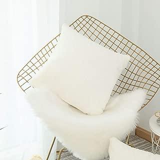 Home Brilliant Plush Mongolian Faux Fur Suede Throw Pillow Cover Fluffy Sheepskin Cushion Case for Sofa, 18x18 inch, White