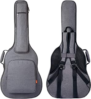 CAHAYA Guitar Bag [Reinforced Version] Guitar Case 0.8 Inch Overly Thick Sponge Padded Extra Protection with 5 Pockets,Neck Cradle,Back Hanger Loop for 40 41 in Acoustic Classical Guitar, Light Grey