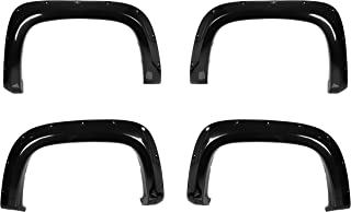 CAREPAIR 4pcs Front and Rear Smooth Black Aftermarket Pocket Riveted Style ABS Plastic Bolt On Fender Flares for 2015 2016 2017 Chevrolet Colorado 74 inch Truck Bed