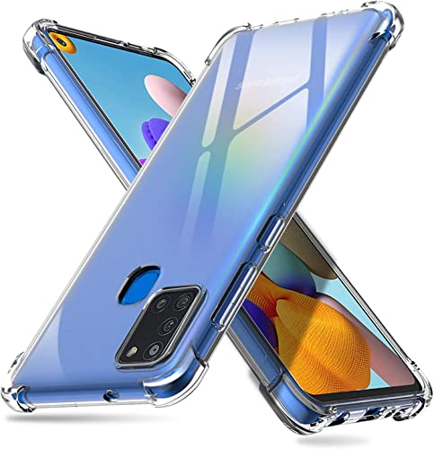 Shining Zon Silicon Flexible Shockproof Corner TPU Back Case Cover For Samsung Galaxy A21s Transparent