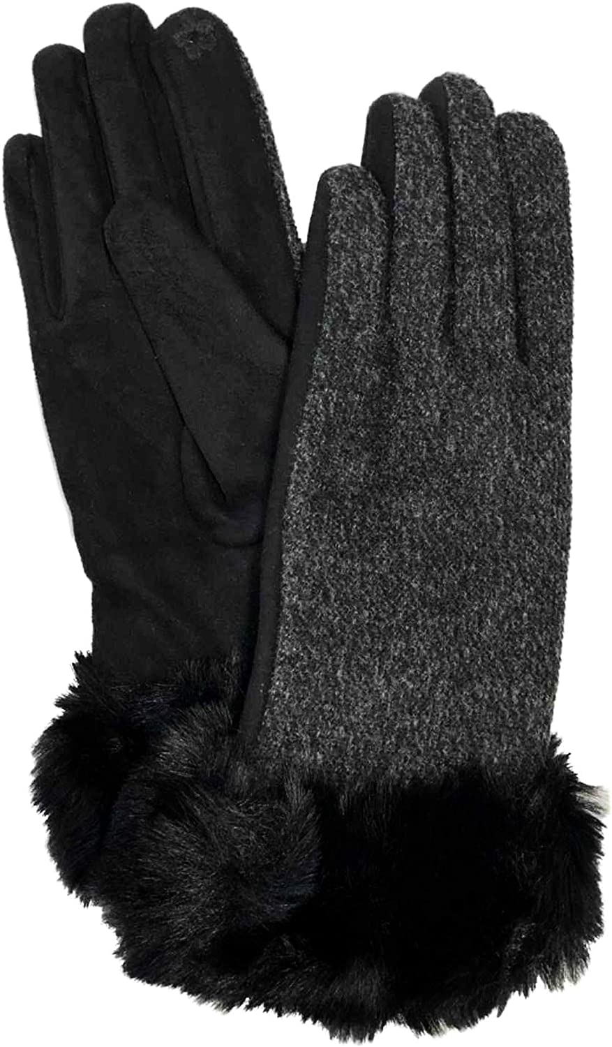 Womens Black Faux Fur Stretch Fit Text & Tech Touchscreen Driving Gloves
