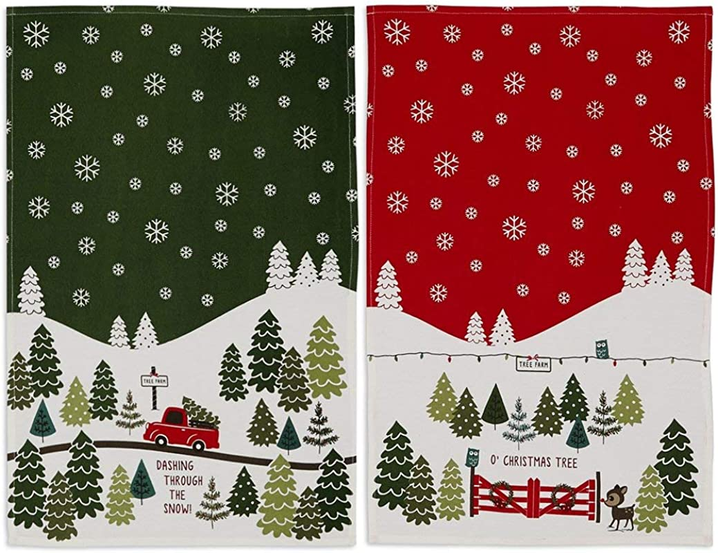 DII Christmas Tree Farm Towel Set 1 Each Dashing Through The Snow And O Christmas Tree