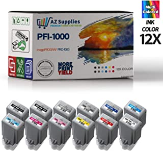 AZ Compatible Ink Cartridge Replacement for Canon PFI-1000 use in imagePROGRAF PRO-1000 (PB,MB,C,M,Y,R,PM,GY,PC,CO,PG,B 12-Pack)