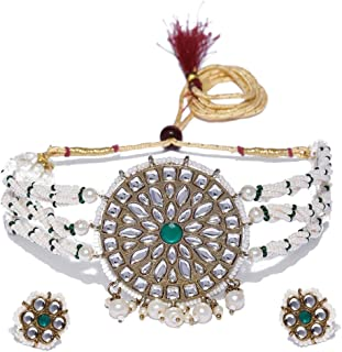 Zaveri Pearls Graceful Kundan & Pearls Traditional Choker Necklace Set For Women-ZPFK9234