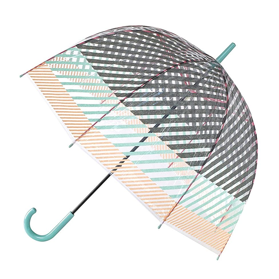 Time Concept Happy Clear Dome Umbrella - Stripe/Multicolor - Pop-Up Stick Canopy, Sun/Rain Travel Protection