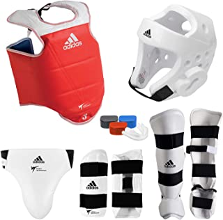 adidas Complete Taekwondo Sparring Gear Set with SHIN Instep - White - Adult-Small