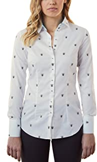 58a12a3e24b6 HAWES & CURTIS Women's Stylish Workwear White Bee Print Fitted Shirt