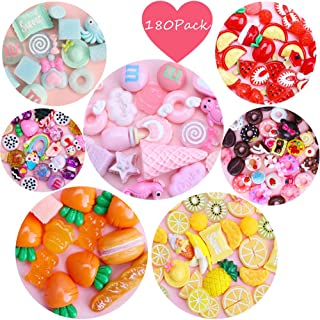 Habbi Slime Charms Set 180pcs Slime Charms Mixed Fruit Candy Food Resin Flatback Cute Slime Beads for DIY Crafts Making, Ornament Scrapbooking