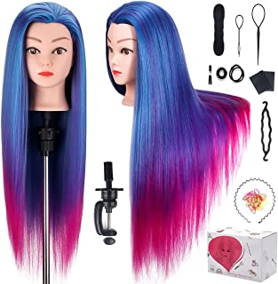 Beauty Star 26 Inches 100% Synthetic Fiber Hair Training Head Cosmetology Hairdressing Mannequin Manikin Doll Head with Ta...