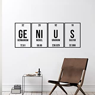 """Vinyl Wall Art Decal - Genius - 12"""" x 32"""" - Trendy Cute Funny Chemistry Quote Sticker for School Classroom Office Living R..."""