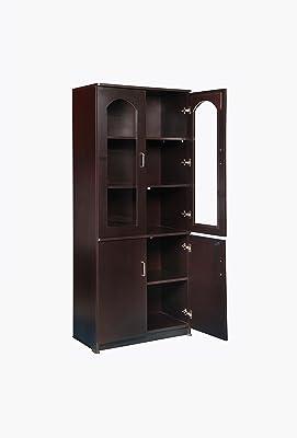 Generic Hudson Mark Wooden Book Case Almirah Storage Organizer/2 Door Cupboard Stand With Shelves/Media Cabinet Furniture - Dark Walnut Color