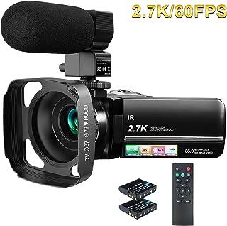 ビデオカメラ Rosdeca 2.7k HDR 36MP デジタルズーム16倍 最大128GB対応 ウェブカメラ機能 IR赤外線暗視機能 デジタル補正 270度回転画面3.0インチタッチモニター 外部マイく 予備バッテリーあり 日本語システム