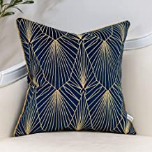Yangest Navy Blue and Gold Gradient Velvet Throw Pillow Cover Geometric Lines Cushion Case Modern Luxury Embroidery Pillow...