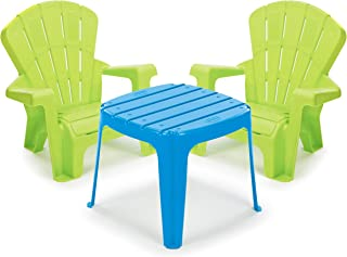 Little Tikes Garden Table and Chairs Set, Blue/Green (Renewed)