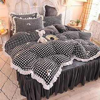 Juego de Funda de edredón tamaño King-Colcha de terciopelo de leche gruesa de invierno cama individual funda nórdica individual falda de cama ropa de cama regalo de cuatro piezas-H_Cama de 1,5 m (4 p