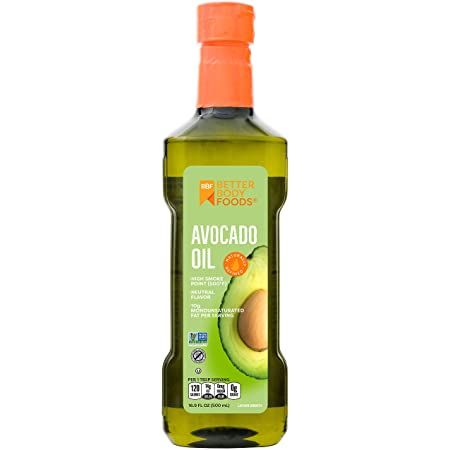 BetterBody Foods Avocado Oil, Refined Non-GMO Cooking Oil for Paleo and Keto, 500 Milliliters