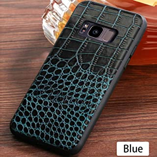 for Samsung S10 Plus S7 S8 S9 Note Phone Case, Slim Fit Cell Phone Cover Genuine Leather Phone Case(Crocodile Skin Style) for Samsung A5 J5 J7 2017 A7 A8 J6 2018 Back Cover (Blue,Galaxy S7 Edge)