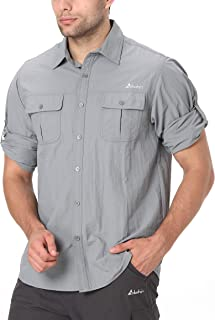 Clothin Men's Long Sleeve Fishing Vented Shirt - Quick-Dry Roll-Up Lightweight Cooling Outdoor