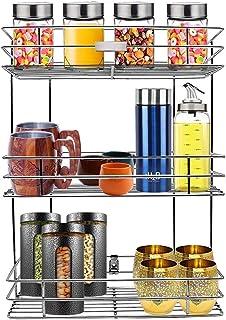 BRAMHANI ENTERPRISE Stainless Steel Multipurpose Storage Rack/Shelf, 3 Layer Kitchen Rack, Bathroom Shelves and Racks Stee...