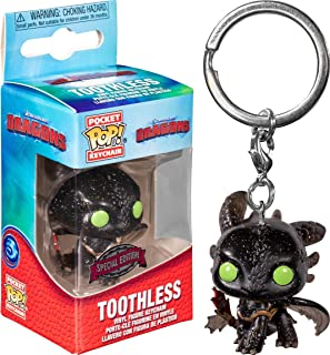 Funko Pocket Pop! Keychain: How To Train Your Dragon 3 - Toothless(Glitter Pocket), Action Figure - 48252