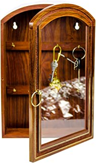 Deluxe Rosewood Crafted Wooden Key Cabinet with 6 Key Hooks and Glass Panel | Decorative & Functional Key Storage Box | Na...