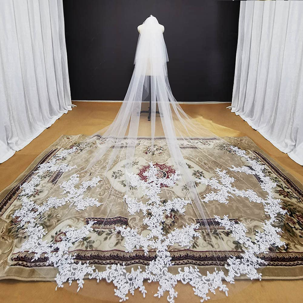 HUIJK Veil Cathedral Lace Appliques Wedding New mail order Layers White 2 5 ☆ popular