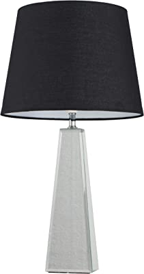 Large Modern Polished Chrome & Mirrored Table Lamp with a Black Tapered Shade