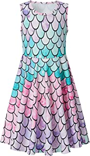 Girls Sleeveless Dress Round Neck Floral Printed Casual Party Sundress 4-12 Years