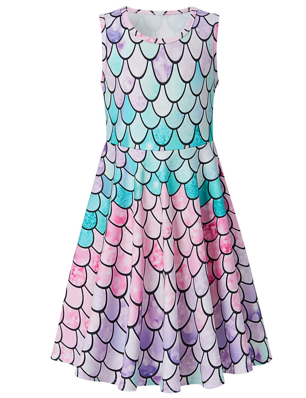 Funnycokid Girls Summer Dresses Print Floral Sleeveless Round Neck Sundress 4-13 Years