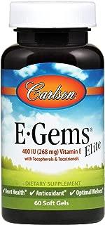 Carlson - E-Gems Elite, 400 IU Vitamin E with Tocopherols & Tocotrienols, Heart Health & Optimal Wellness, Antioxidant, 60 soft gels