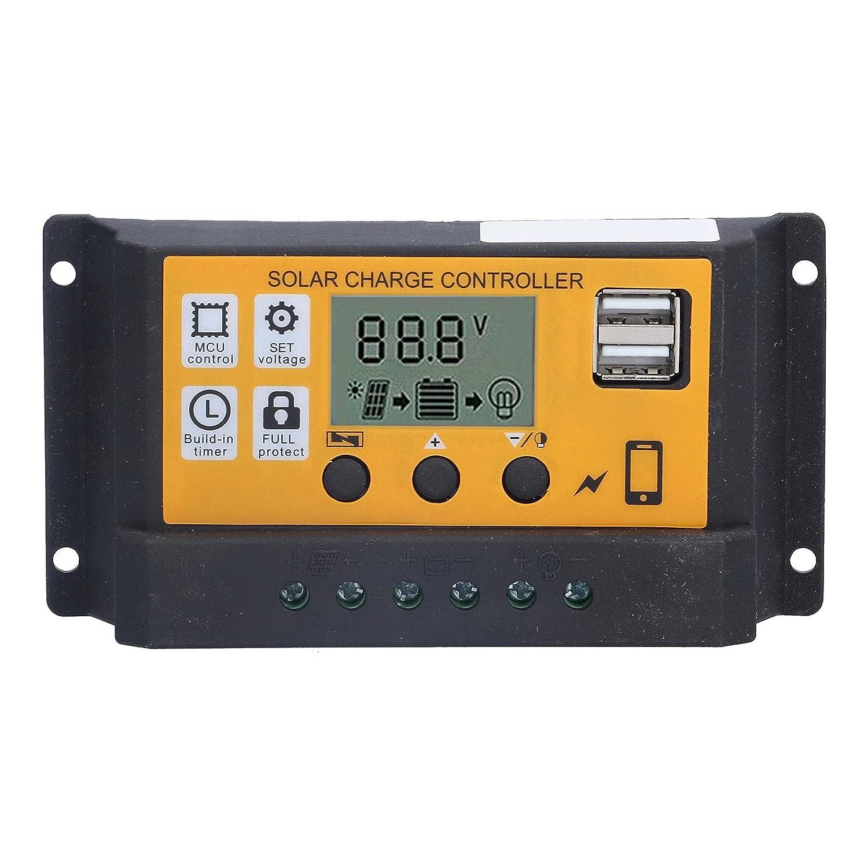 Controlador de carga solar 20A, regulador de batería de panel solar, controlador de carga inteligente fotovoltaico con pantalla LCD, puerto USB dual 12V 24V