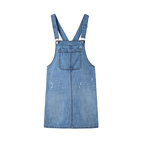 bc42575dab Women s Casual Adjustable Straps A-line Bib Pocket Denim Pinafore Overall  Dress