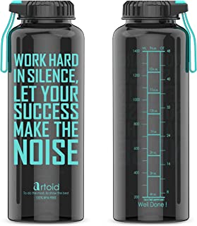 Artoid 48oz Motivational Fitness Workout Sports Water Bottle with Time Marker and Measurements, BPA Free and Dishwasher Safe